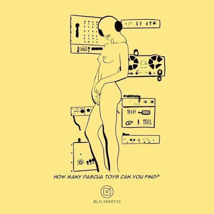 Erotic artwork of a girl masturbating in a room full of music equipment and sex toys from Lily Erotic