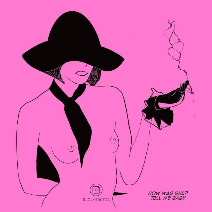 A minimal artwork of a girl smoking from Lily Erotic