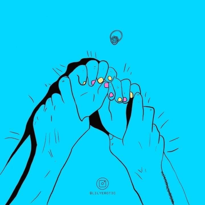 Cute and minimal artwork of a man grabing a girl hands in bed from Lily Erotic